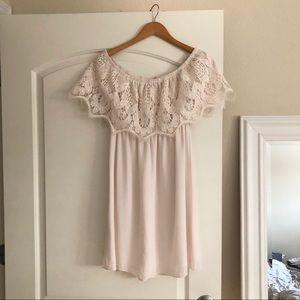 🖤 REVOLVE Off Shoulder Ivory/Beige Lace Dress